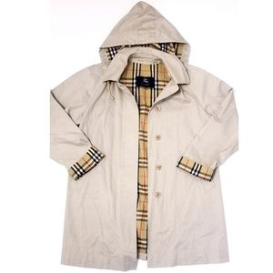 Burberry Plaid Beige Hooded Trenchcoat Large 14
